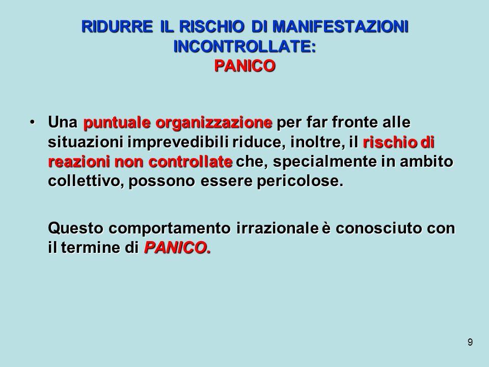 9 RIDURRE IL RISCHIO DI MANIFESTAZIONI INCONTROLLATE: PANICO Una puntuale organizzazione per far fronte alle situazioni imprevedibili riduce, inoltre,