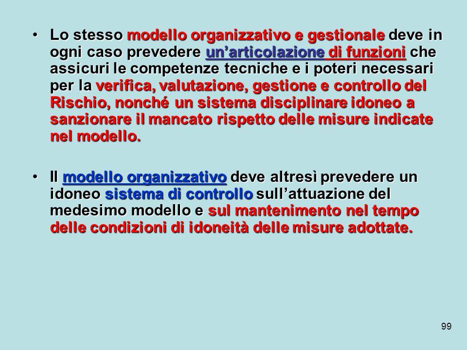 99 Lo stesso modello organizzativo e gestionale deve in ogni caso prevedere unarticolazione di funzioni che assicuri le competenze tecniche e i poteri
