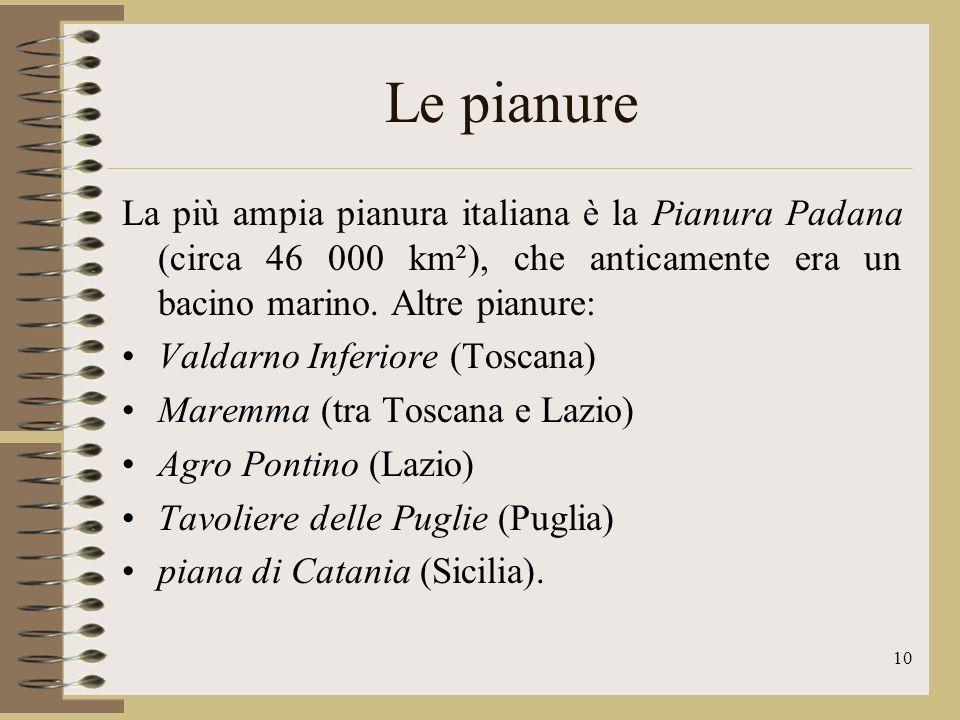 11 I fiumi La maggior parte dei fiumi italiani ha: corso breve bacino idrografico (area di cui un corso dacqua raccoglie le acque, separata da quelle confinanti dalla linea spartiacque o di displuvio), poco esteso una portata dacqua limitata