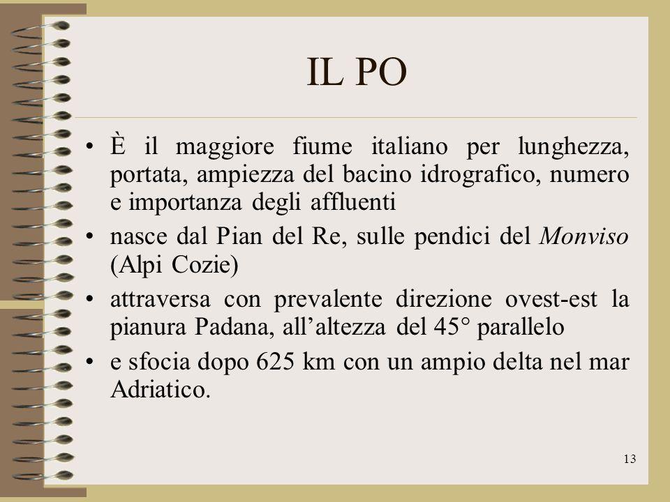 14 IL PO I suoi maggiori affluenti alpini sono Dora Baltea, Dora Riparia, Sesia,, Ticino, Adda, Oglio, Mincio; quelli appenninici Tanaro, Trebbia, Taro, Panaro.