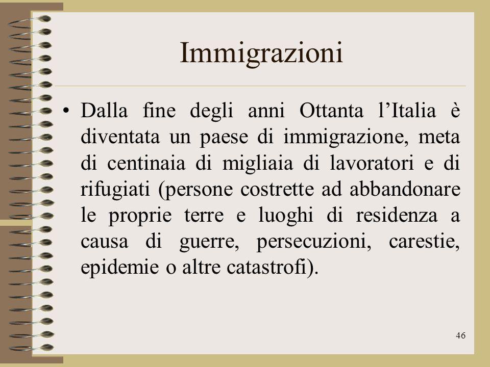 47 Immigrazioni Tra gli stranieri che giungono in Italia i più numerosi sono quelli che provengono dallEuropa orientale e gli extracomunitari, provenienti da paesi esterni allUnione Europea Nordafrica Sudamerica Sud-Est Asiatico