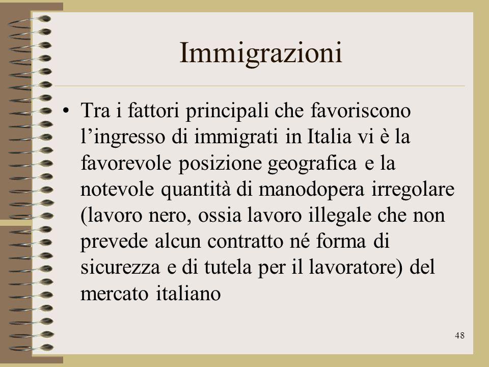 49 Immigrazioni LItalia è uno dei paesi al mondo in cui si vive meglio, nonostante ciò è anche uno di quelli in Europa in cui vi è un maggiore divario tra ricchi e poveri; la ricchezza è distribuita male e una percentuale non trascurabile di italiani è povera.