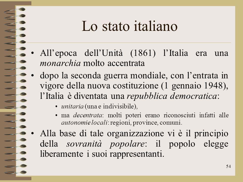 55 Le regioni LItalia è formata da 20 regioni, che però non hanno uguali prerogative.