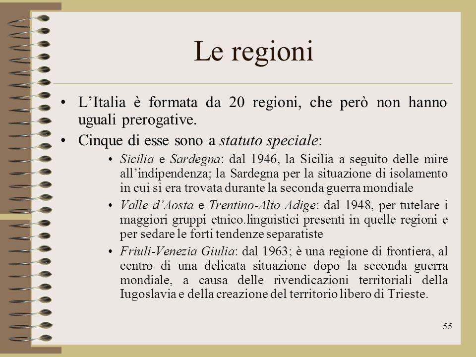 56 Le regioni In base alla riforma della Costituzione (2001) le regioni hanno ampi poteri di emanare proprie leggi in molti campi, esclusi quelli riservati al governo e al parlamento centrali