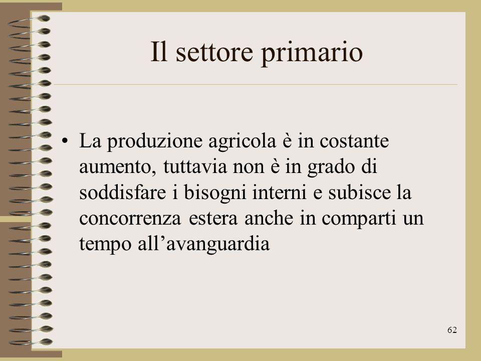 63 Il settore primario Le produzioni più tipiche sono quella ortofrutticola e vitivinicola.