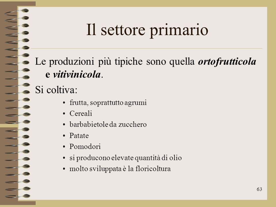 64 Il settore primario Prevale lallevamento in stalle grandi e moderne nella pianura Padana si allevano bovini e pollame nei pascoli meridionali e in Toscana, Sardegna, Abruzzo e Lazio si allevano invece ovini e caprini.