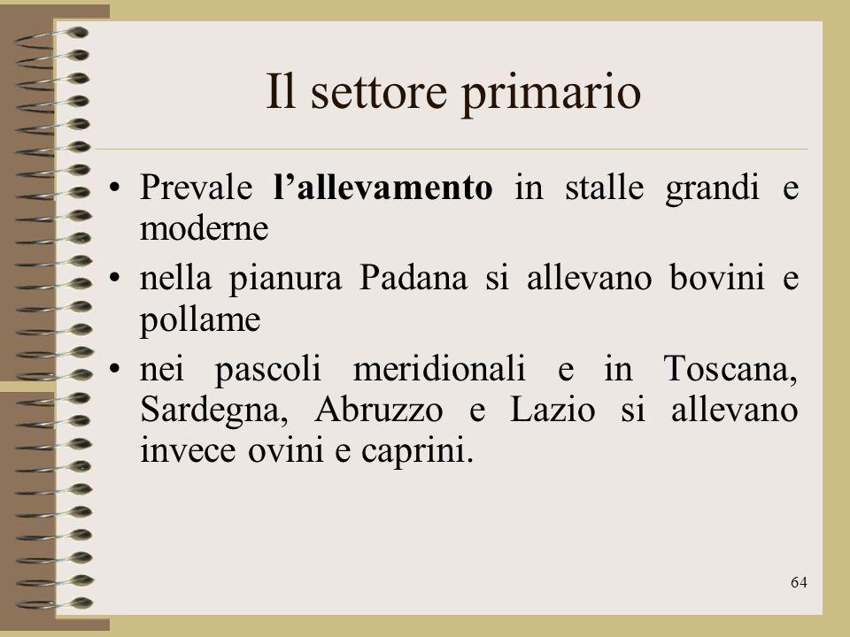 65 Il settore primario In Italia la pesca ha una tradizione antichissima, ma i mari italiani sono nel loro insieme poco pescosi e il settore non ha raggiunto un elevato sviluppo.