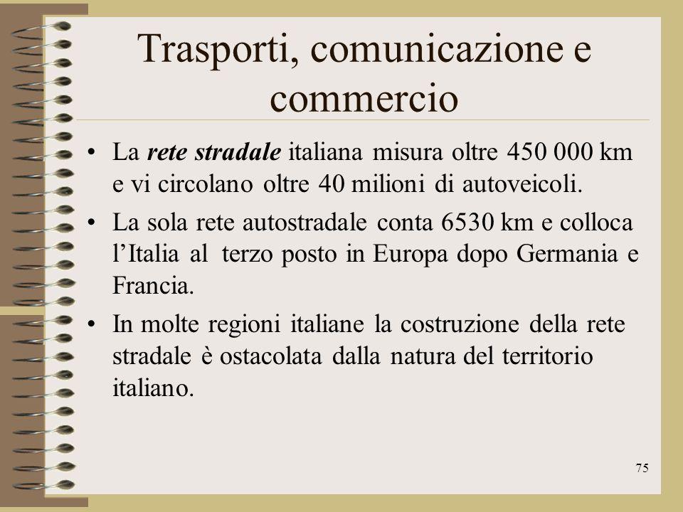 76 Trasporti, comunicazione e commercio Le linee ferroviarie si estendono per poco più di 16 000 km, due terzi dei quali elettrificati e quasi un terzo a binario semplice.