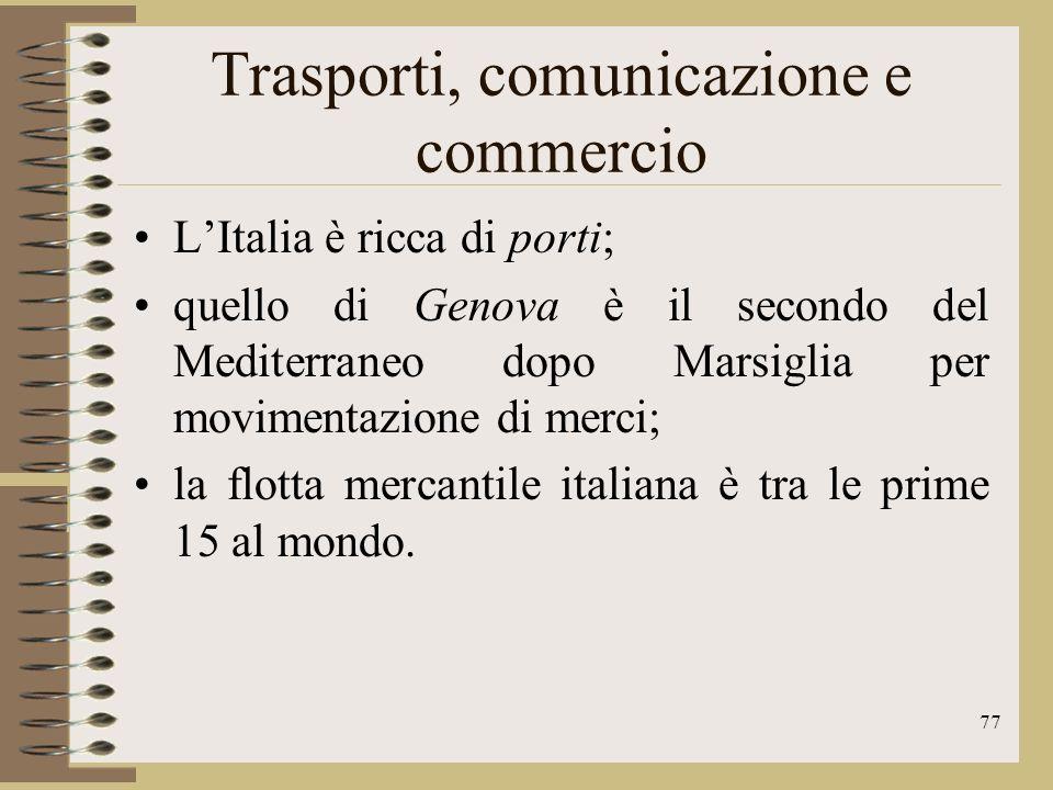 78 Trasporti, comunicazione e commercio Il traffico negli aeroporti italiani è in costante aumento i due principali scali intercontinentali sono Roma Fiumicino e Milano Malpensa.