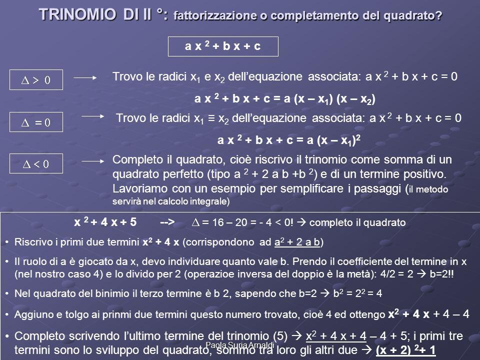 Paola Suria Arnaldi TRINOMIO DI II °: fattorizzazione o completamento del quadrato? a x 2 + b x + c Trovo le radici x 1 x 2 dellequazione associata: a