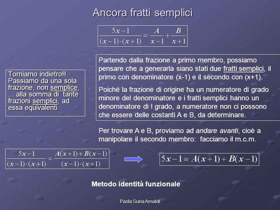 Paola Suria Arnaldi Fratti semplici: m Fratti semplici: metodo identità funzionale Se i due membri sono identici, qualunque valore attribuiamo alla x al primo o al secondo membro, dobbiamo ottenere lo stesso risultato.
