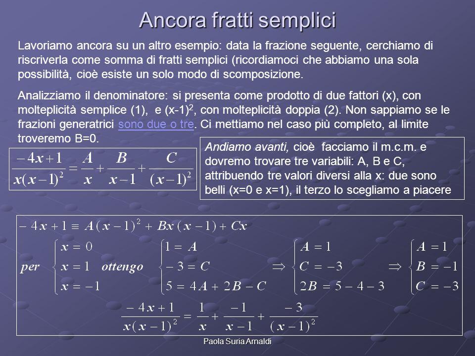 Paola Suria Arnaldi Ancora fratti semplici Lavoriamo ancora su un altro esempio: data la frazione seguente, cerchiamo di riscriverla come somma di fra