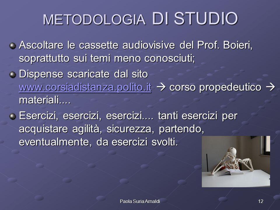 12Paola Suria Arnaldi METODOLOGIA DI STUDIO Ascoltare le cassette audiovisive del Prof. Boieri, soprattutto sui temi meno conosciuti; Dispense scarica