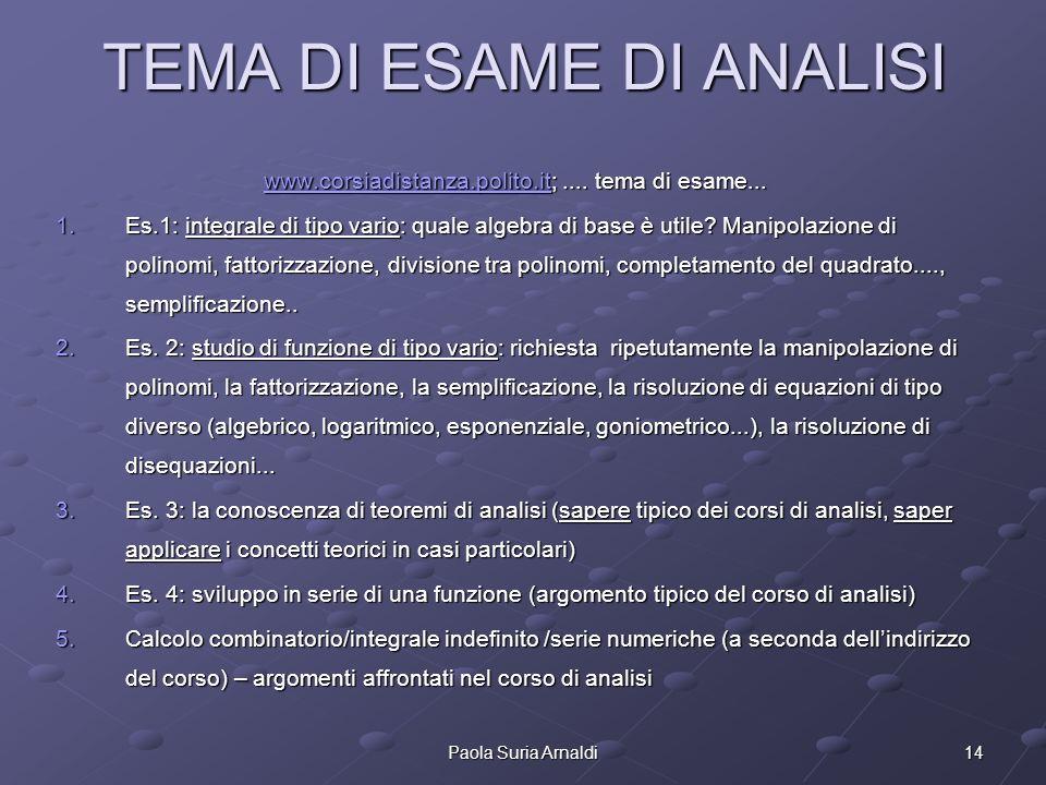 14Paola Suria Arnaldi TEMA DI ESAME DI ANALISI www.corsiadistanza.polito.itwww.corsiadistanza.polito.it;.... tema di esame... www.corsiadistanza.polit