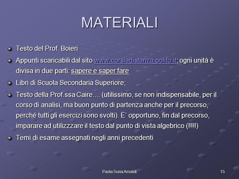 15Paola Suria Arnaldi MATERIALI Testo del Prof. Boieri Appunti scaricabili dal sito www.corsiadistanza.polito.it; ogni unità è divisa in due parti: sa