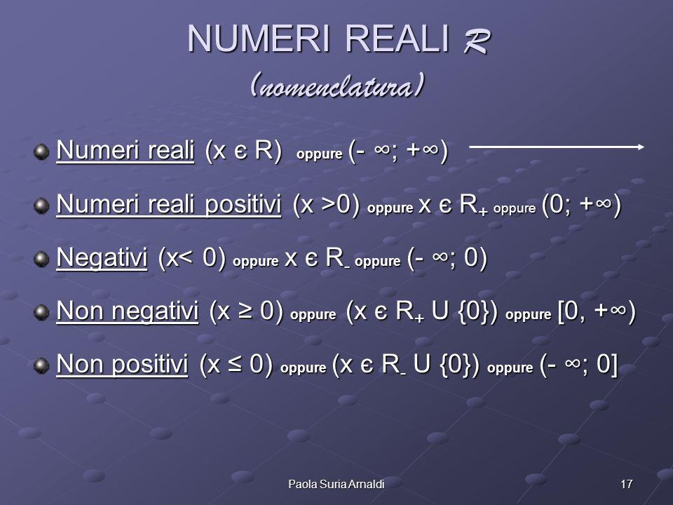 17Paola Suria Arnaldi NUMERI REALI R (nomenclatura) Numeri reali (x є R) oppure (- ; +) Numeri reali positivi (x >0) oppure x є R + oppure (0; +) Nega