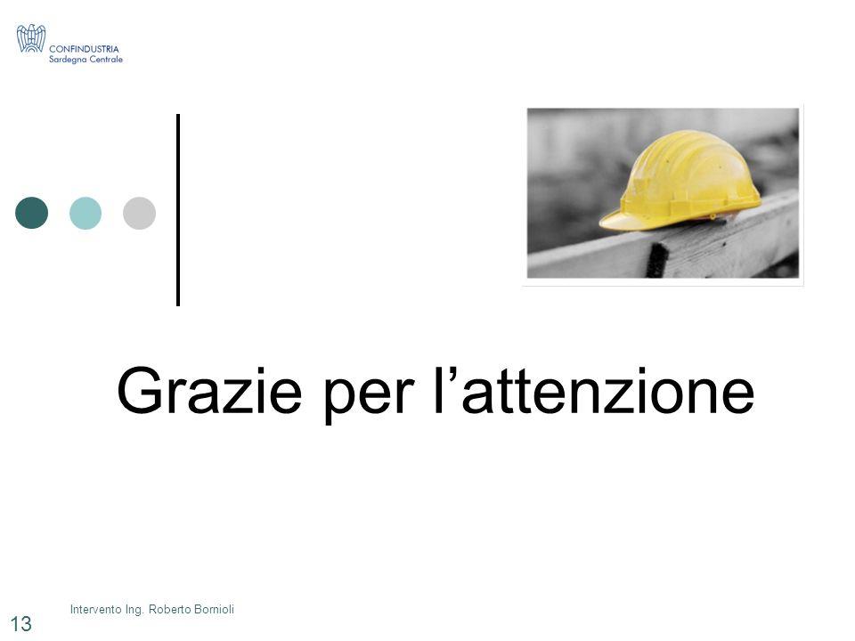 Intervento Ing. Roberto Bornioli 13 Grazie per lattenzione