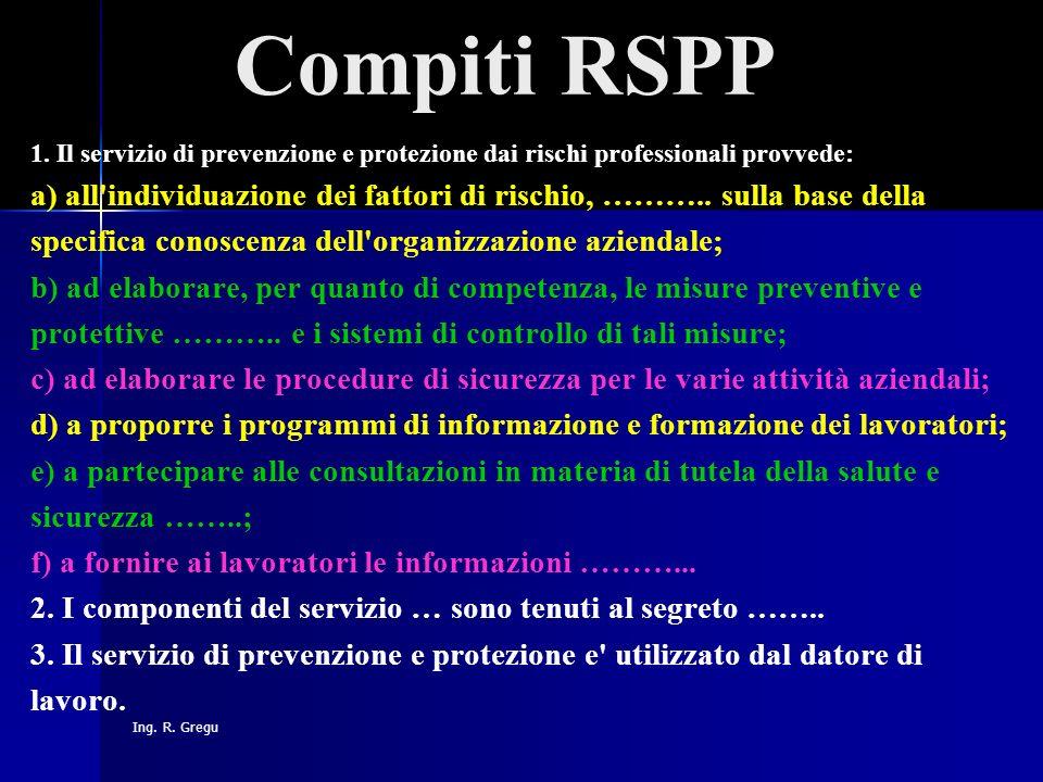 Ing. R. Gregu Compiti RSPP 1. Il servizio di prevenzione e protezione dai rischi professionali provvede: a) all'individuazione dei fattori di rischio,