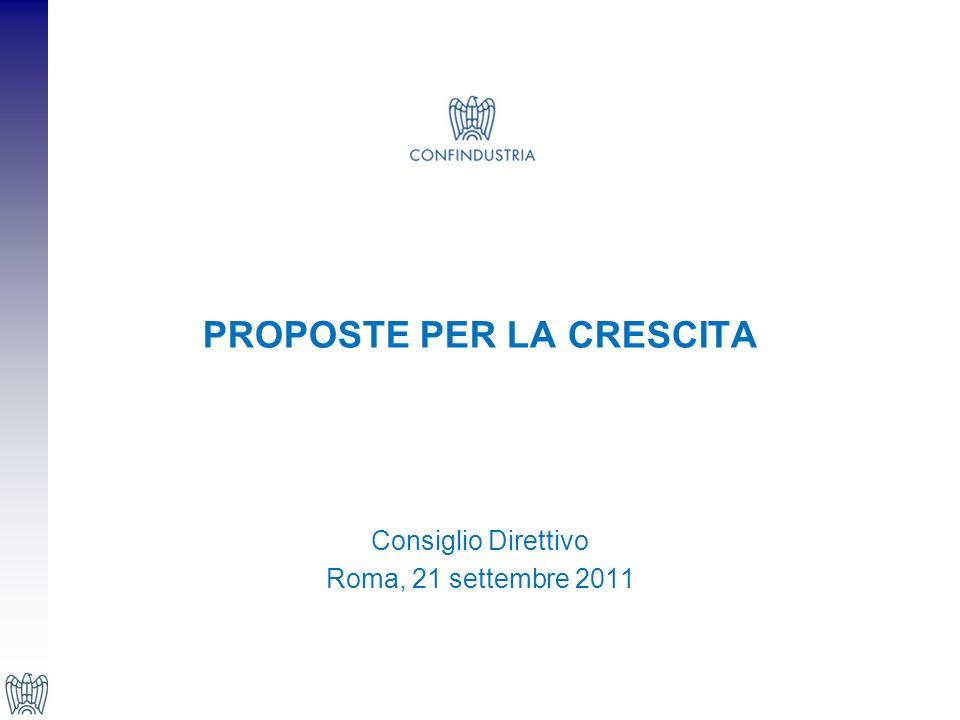 PROPOSTE PER LA CRESCITA Consiglio Direttivo Roma, 21 settembre 2011