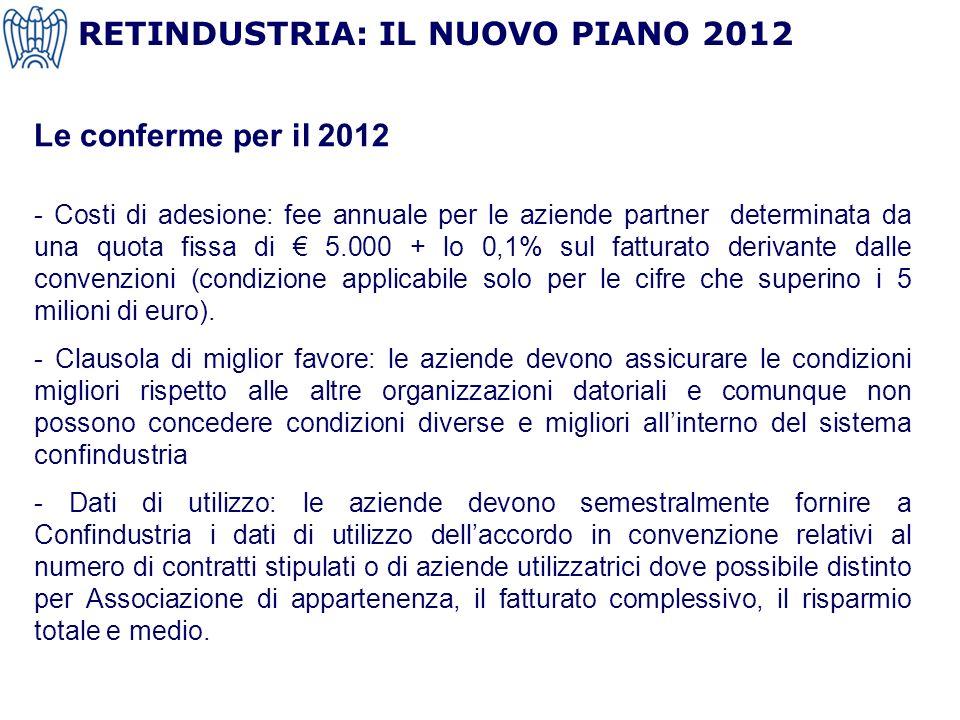 Le conferme per il 2012 - Costi di adesione: fee annuale per le aziende partner determinata da una quota fissa di 5.000 + lo 0,1% sul fatturato derivante dalle convenzioni (condizione applicabile solo per le cifre che superino i 5 milioni di euro).