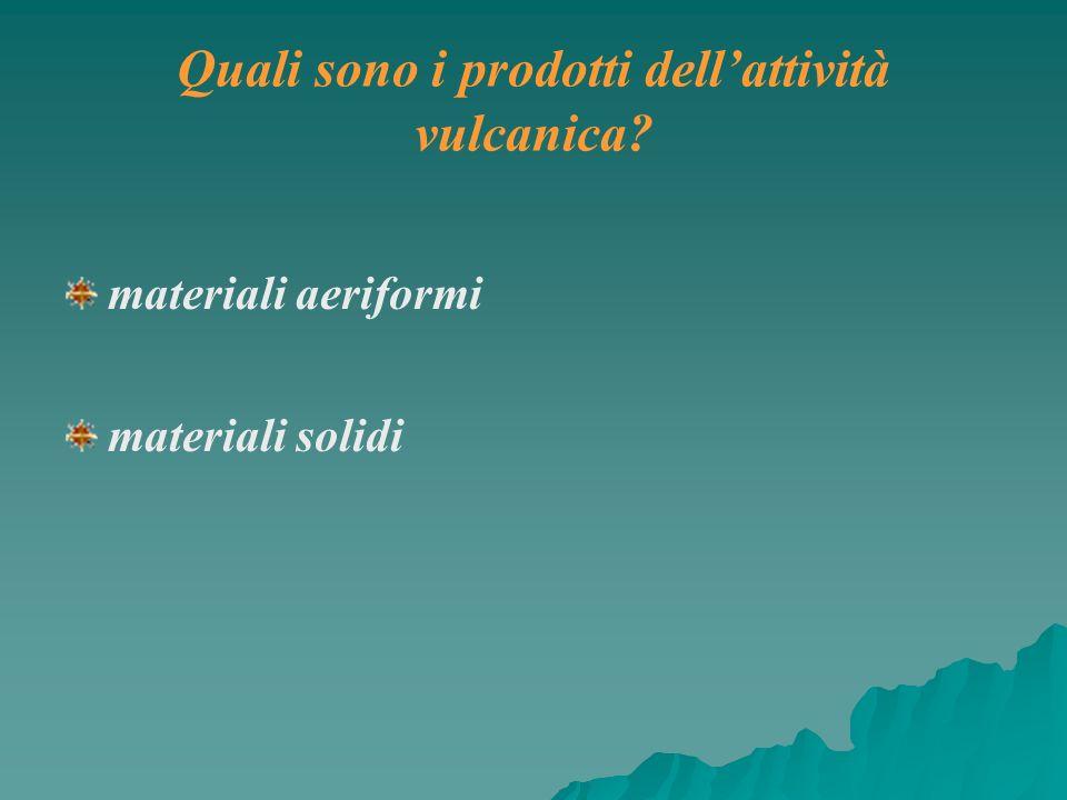 materiali aeriformi materiali solidi Quali sono i prodotti dellattività vulcanica?