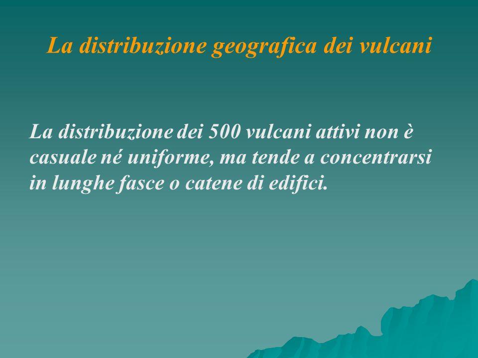 La distribuzione dei 500 vulcani attivi non è casuale né uniforme, ma tende a concentrarsi in lunghe fasce o catene di edifici. La distribuzione geogr