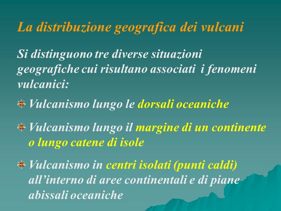 Si distinguono tre diverse situazioni geografiche cui risultano associati i fenomeni vulcanici: Vulcanismo lungo le dorsali oceaniche Vulcanismo lungo