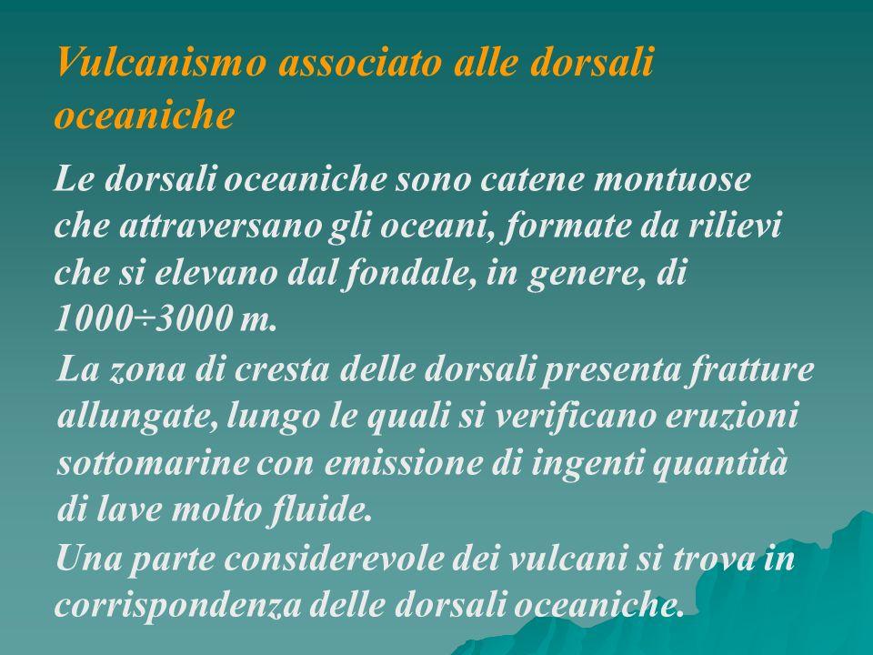 Vulcanismo associato alle dorsali oceaniche Una parte considerevole dei vulcani si trova in corrispondenza delle dorsali oceaniche. Le dorsali oceanic