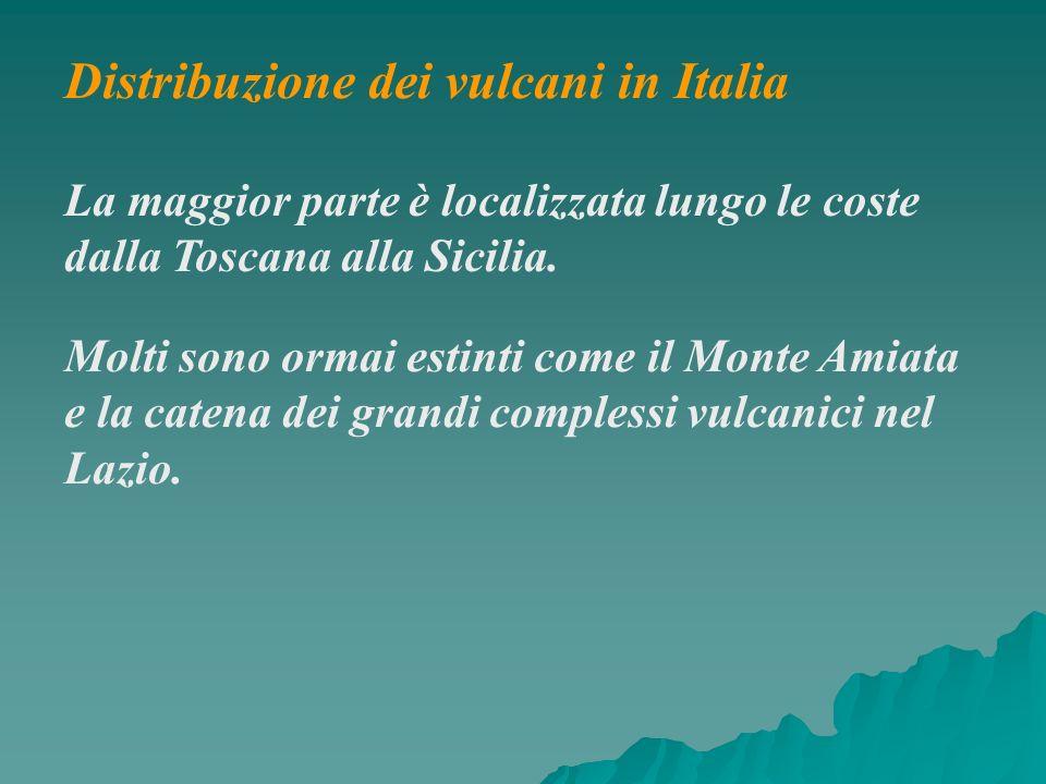 Distribuzione dei vulcani in Italia La maggior parte è localizzata lungo le coste dalla Toscana alla Sicilia. Molti sono ormai estinti come il Monte A