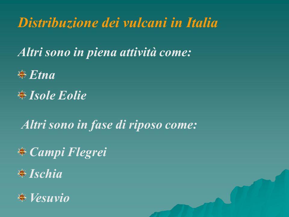 Altri sono in piena attività come: Etna Isole Eolie Altri sono in fase di riposo come: Campi Flegrei Ischia Vesuvio Distribuzione dei vulcani in Itali