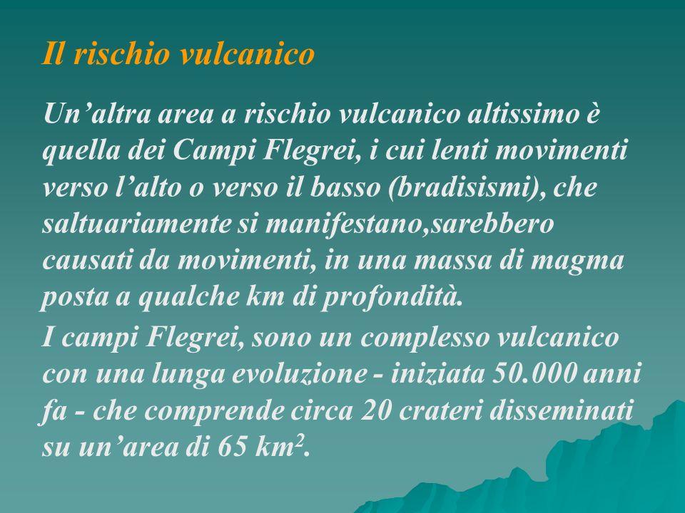 Unaltra area a rischio vulcanico altissimo è quella dei Campi Flegrei, i cui lenti movimenti verso lalto o verso il basso (bradisismi), che saltuariam