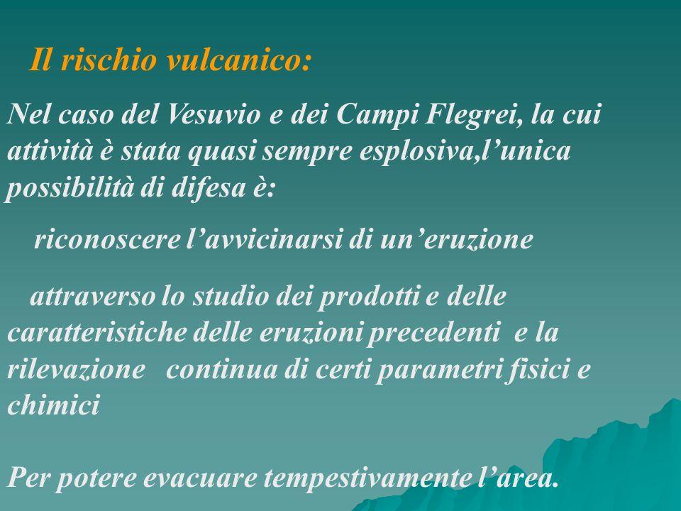 Il rischio vulcanico: Nel caso del Vesuvio e dei Campi Flegrei, la cui attività è stata quasi sempre esplosiva,lunica possibilità di difesa è: riconos