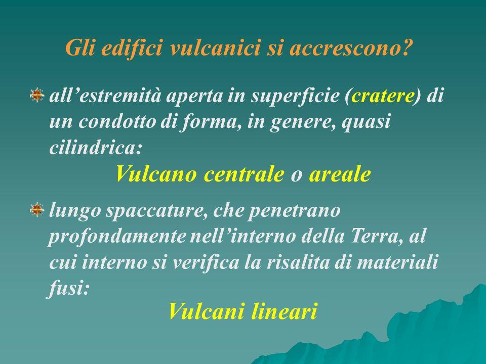 allestremità aperta in superficie (cratere) di un condotto di forma, in genere, quasi cilindrica: Vulcano centrale o areale lungo spaccature, che pene