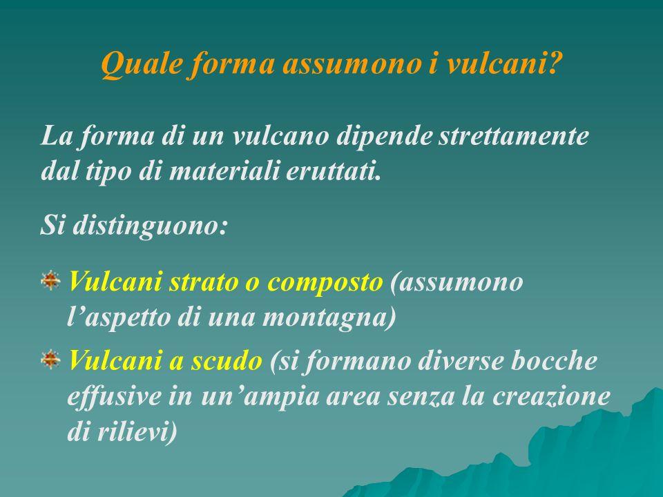 La forma di un vulcano dipende strettamente dal tipo di materiali eruttati. Si distinguono: Vulcani strato o composto (assumono laspetto di una montag