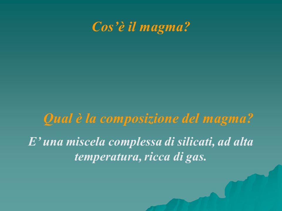 Qual è la composizione del magma? E una miscela complessa di silicati, ad alta temperatura, ricca di gas. Cosè il magma?