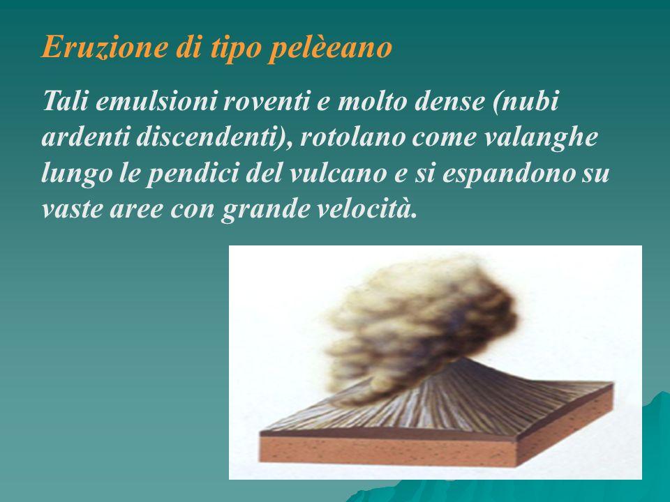 Eruzione di tipo pelèeano Tali emulsioni roventi e molto dense (nubi ardenti discendenti), rotolano come valanghe lungo le pendici del vulcano e si es