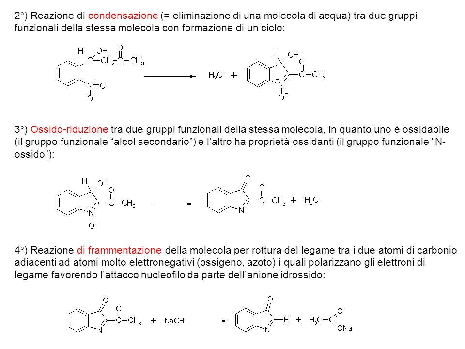 2°) Reazione di condensazione (= eliminazione di una molecola di acqua) tra due gruppi funzionali della stessa molecola con formazione di un ciclo: 3°