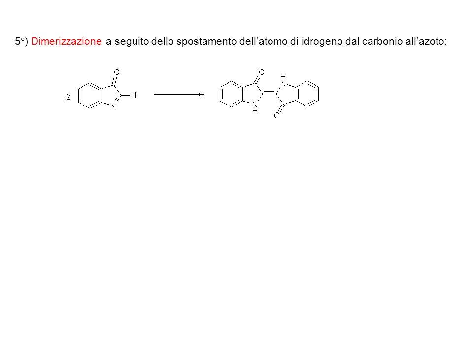 5°) Dimerizzazione a seguito dello spostamento dellatomo di idrogeno dal carbonio allazoto:
