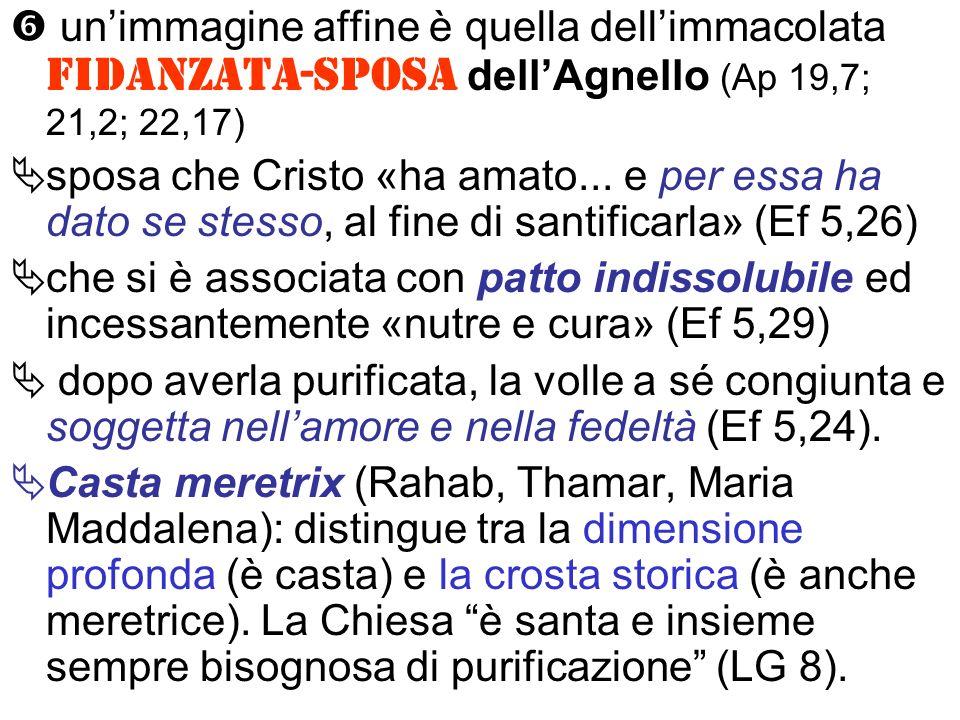 unimmagine affine è quella dellimmacolata fidanzata-sposa dellAgnello (Ap 19,7; 21,2; 22,17) sposa che Cristo «ha amato...