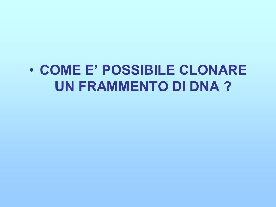 COME E POSSIBILE CLONARE UN FRAMMENTO DI DNA ?