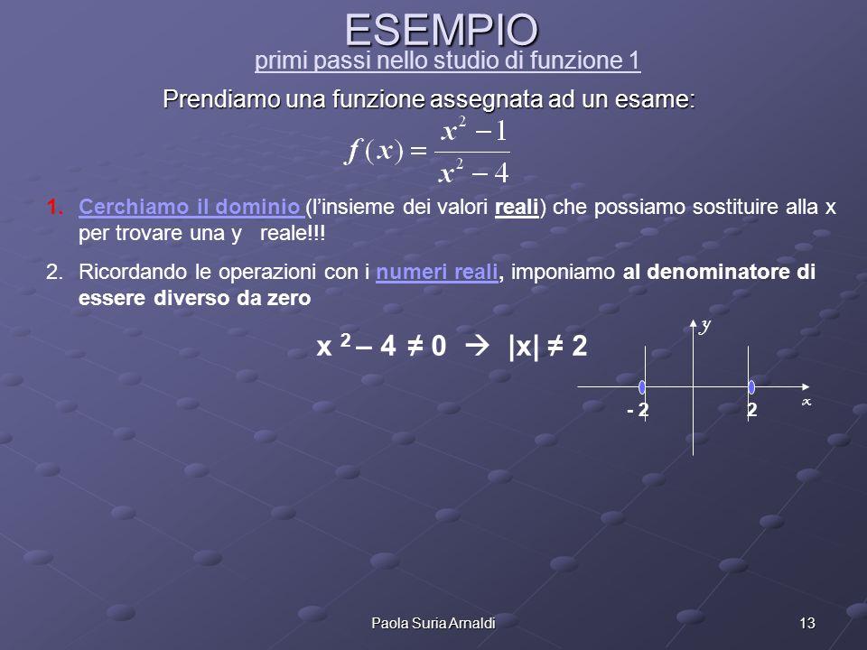 13Paola Suria Arnaldi ESEMPIO ESEMPIO primi passi nello studio di funzione 1 Prendiamo una funzione assegnata ad un esame: 1.Cerchiamo il dominio (lin