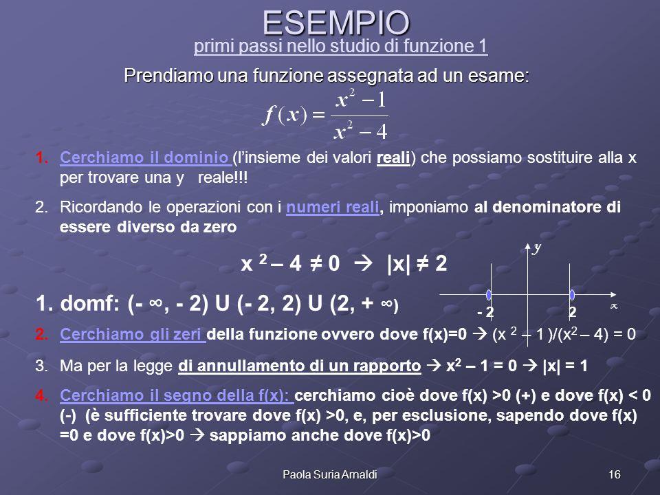 16Paola Suria Arnaldi ESEMPIO ESEMPIO primi passi nello studio di funzione 1 Prendiamo una funzione assegnata ad un esame: 1.Cerchiamo il dominio (lin