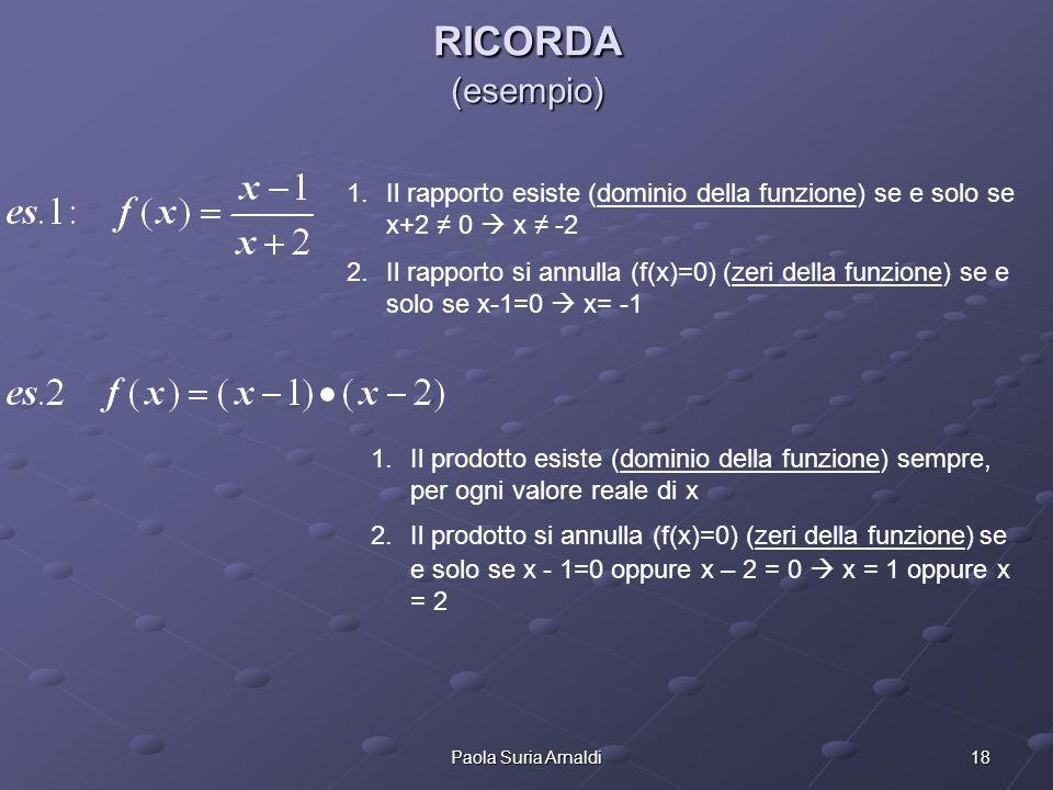 18Paola Suria Arnaldi RICORDA (esempio) 1.Il rapporto esiste (dominio della funzione) se e solo se x+2 0 x -2 2.Il rapporto si annulla (f(x)=0) (zeri