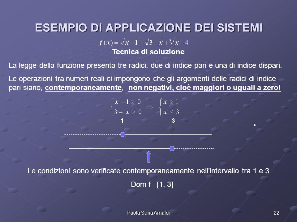 22Paola Suria Arnaldi ESEMPIO DI APPLICAZIONE DEI SISTEMI Tecnica di soluzione La legge della funzione presenta tre radici, due di indice pari e una d