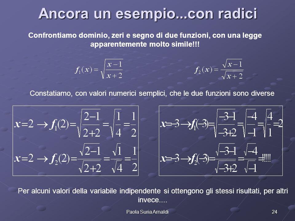 24Paola Suria Arnaldi Ancora un esempio...con radici Confrontiamo dominio, zeri e segno di due funzioni, con una legge apparentemente molto simile!!!