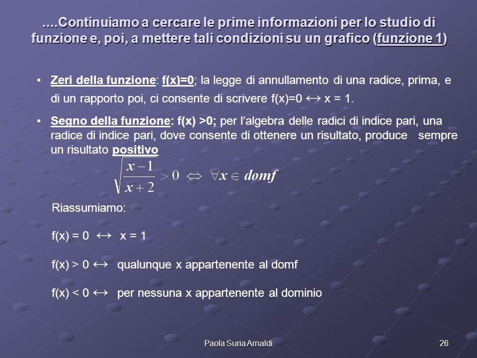 26Paola Suria Arnaldi....Continuiamo a cercare le prime informazioni per lo studio di funzione e, poi, a mettere tali condizioni su un grafico (funzio