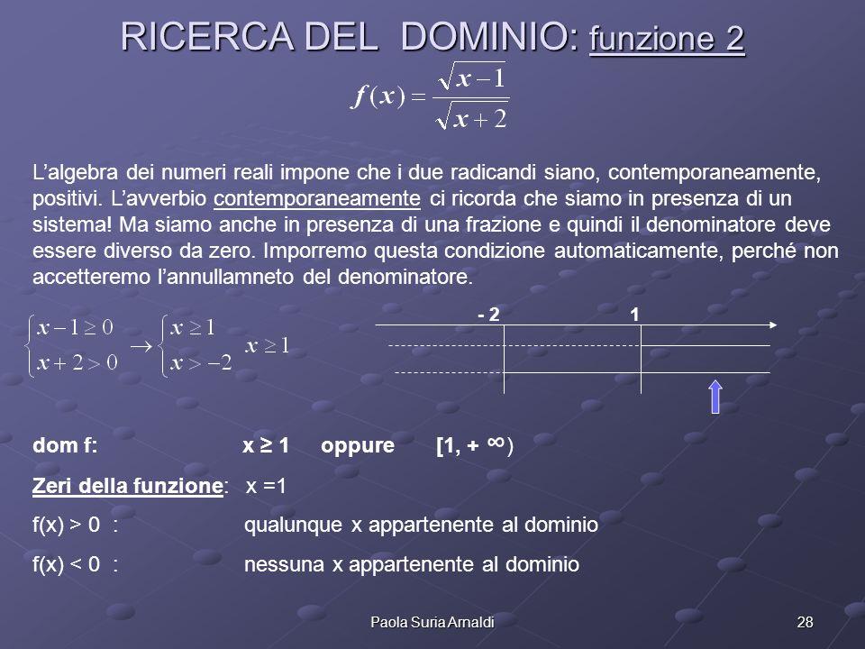 28Paola Suria Arnaldi RICERCA DEL DOMINIO: funzione 2 Lalgebra dei numeri reali impone che i due radicandi siano, contemporaneamente, positivi. Lavver