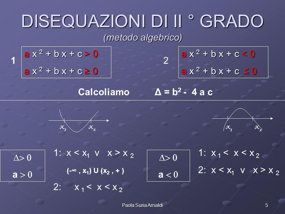 5Paola Suria Arnaldi DISEQUAZIONI DI II ° GRADO (metodo algebrico) a Calcoliamo Δ = b 2 - 4 a c x1x1 x2x2 a x1x1 x2x2 a x 2 + b x + c > 0 a x 2 + b x