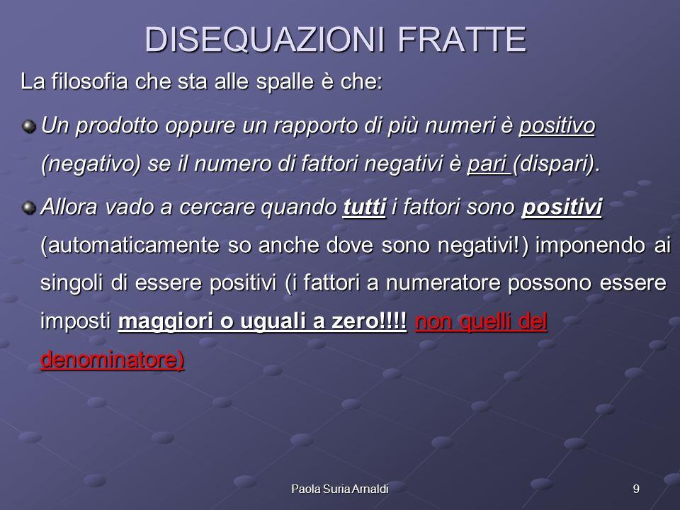 9Paola Suria Arnaldi La filosofia che sta alle spalle è che: Un prodotto oppure un rapporto di più numeri è positivo (negativo) se il numero di fattor