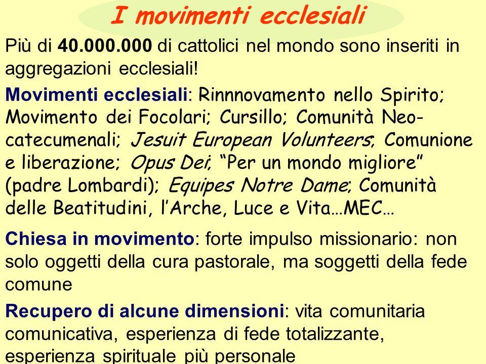 I movimenti ecclesiali Più di 40.000.000 di cattolici nel mondo sono inseriti in aggregazioni ecclesiali.